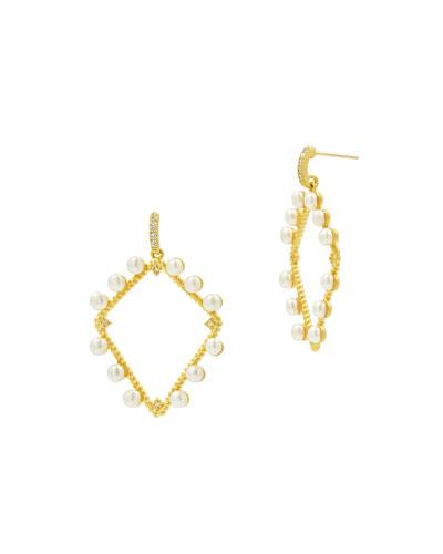 Textured Pearl Diamond-Drop Earrings