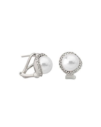 10mm Pearl & Cubic Zirconia Stud Earrings