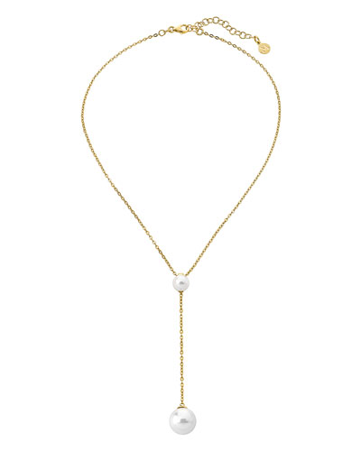 Two-Pearl Lariat Necklace, Gold