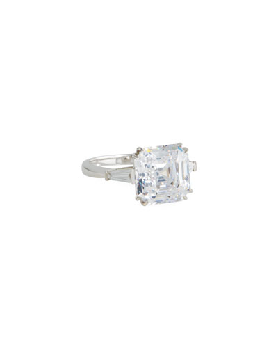 14k White Gold Asscher Cubic Zirconia Ring