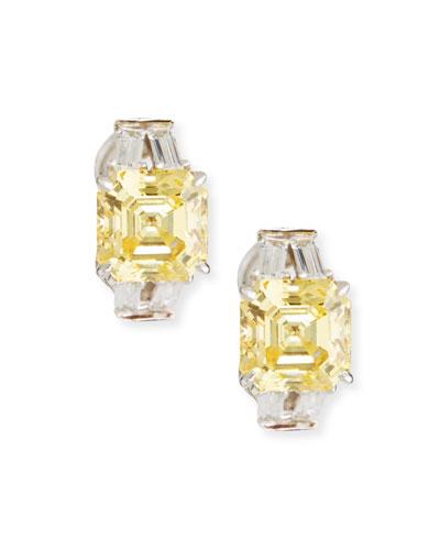 Yellow & Clear Cubic Zirconia Earrings