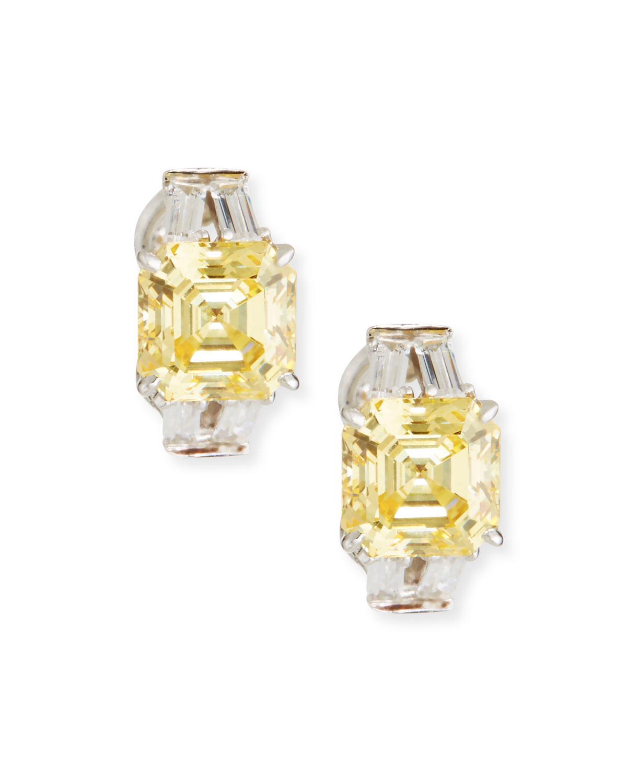 Yellow Clear Cubic Zirconia Earrings