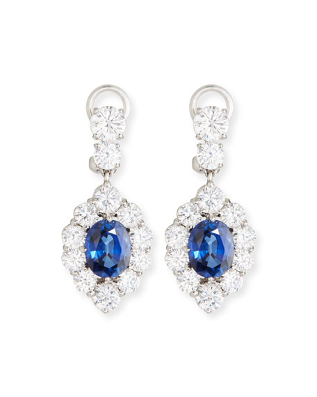 FANTASIA BY DESERIO Synthetic Sapphire Oval Drop Earrings in Blue