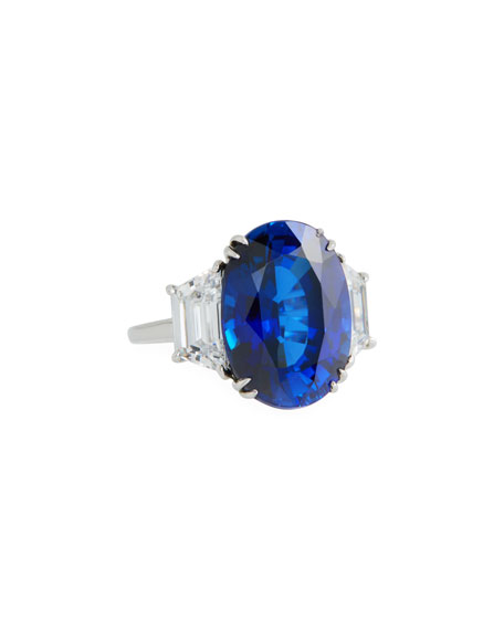 FANTASIA BY DESERIO 14K White Gold Synthetic Sapphire Ring in Blue