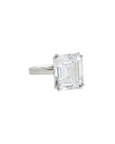 14k White Gold Single Cubic Zirconia Ring