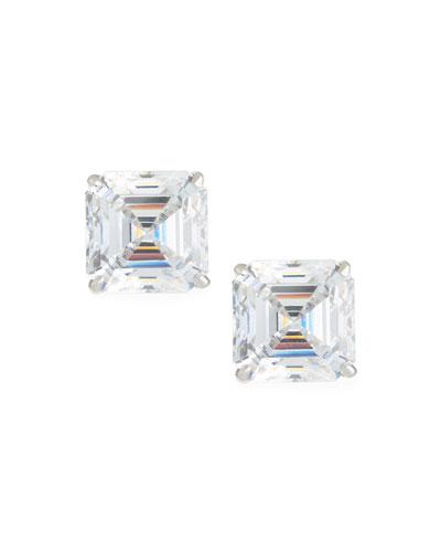 Asscher-Cut Stud Earrings, 10tcw
