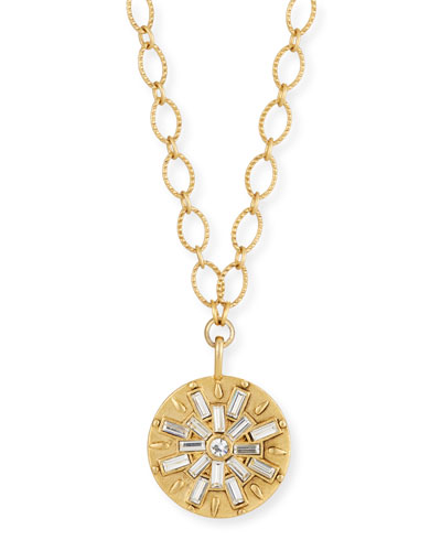Crystal Baguette Burst Pendant Necklace