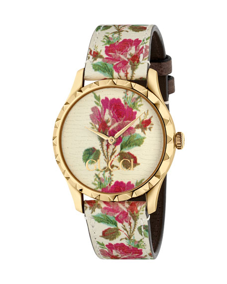 38Mm G-Timeless Blooms Leather Watch, Gold/Beige in White/ Floral/ Gold