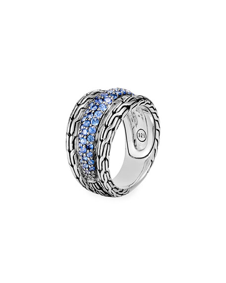 Sterling Silver Classic Chain Blue Sapphire Ring in Silver/ Blue Sapphire