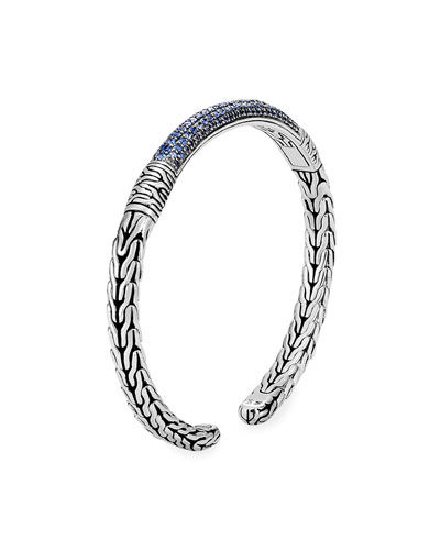 Classic Chain Flex Cuff w/ Black Sapphires & Spinel, Size L