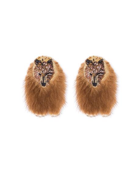 MIGNONNE GAVIGAN Bear Faux Fur Earrings in Brown