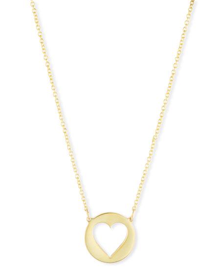 SARAH CHLOE Eva Cutout Heart Pendant Necklace in Gold