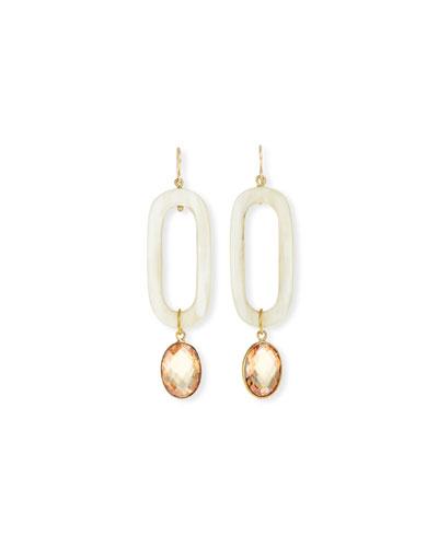 Light Horn & Zircon Drop Earrings