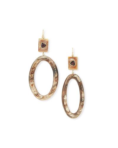 Amethyst & Horn Hoop Drop Earrings