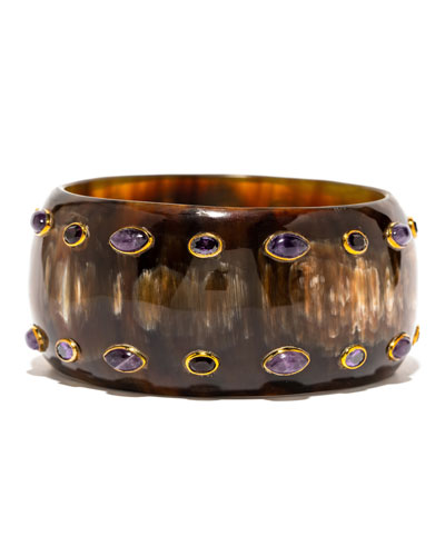 Mixed-Horn & Amethyst Bangle Bracelet
