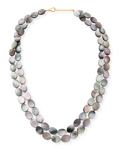 Black Mother-of-Pearl Double-Strand Necklace