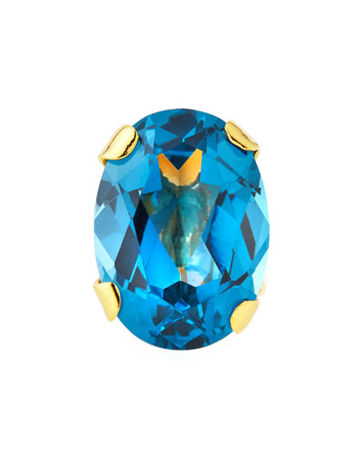 Blue Cubic Zirconia Oval Ring