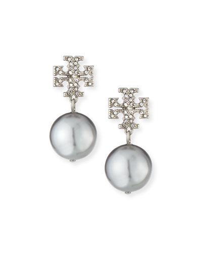 Crystal Pave Pearl Drop Earrings