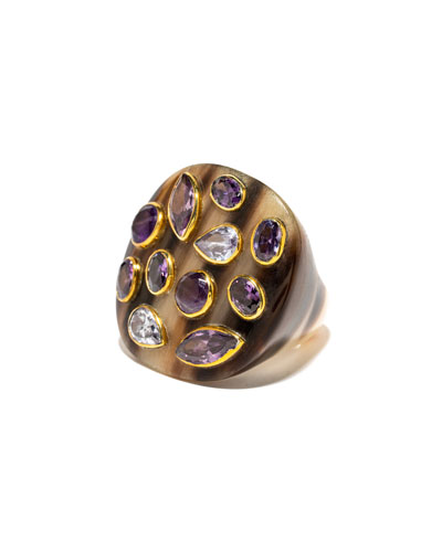Mixed-Horn Flat Top Ring w/ Stones
