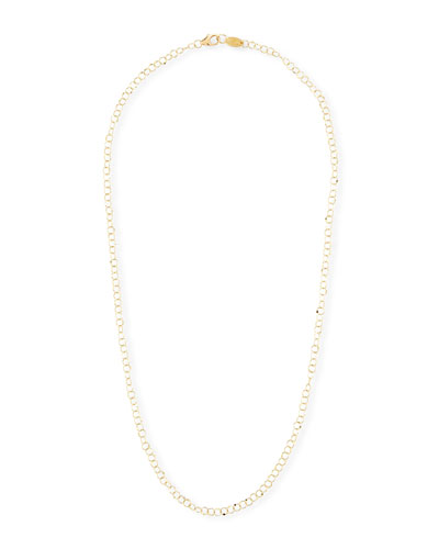 18k Gold Hammered Circle Chain Necklace  18L