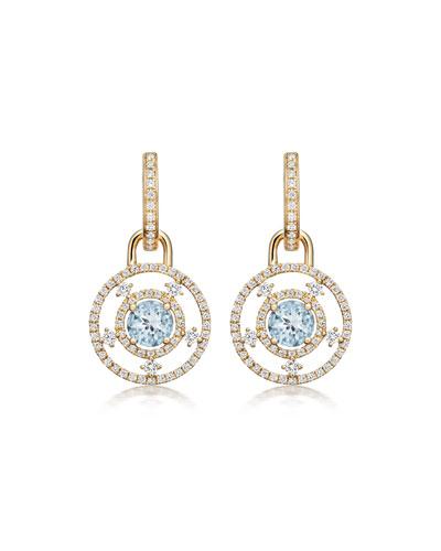 Apollo 18k Gold, Blue Topaz & Diamond Drop Earrings