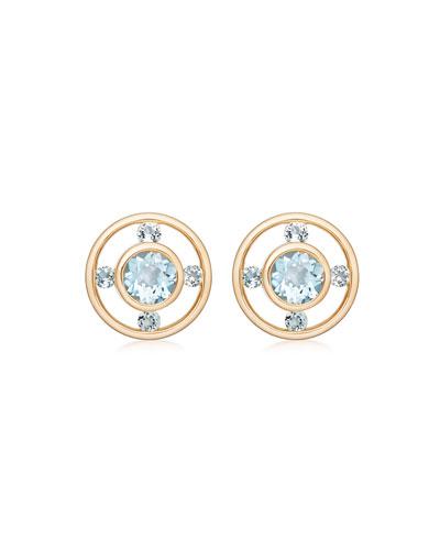 Forget Me Not 18k Gold & Blue Topaz Stud Earrings