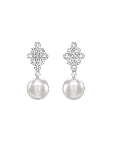 Bridal 18k White Gold, Diamond & Pearl Filigree Earrings