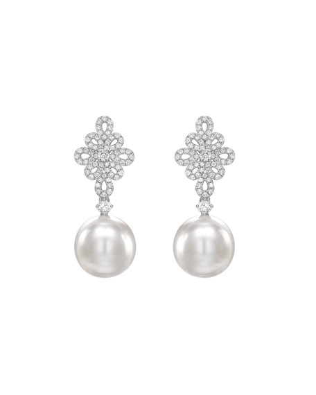 KIKI MCDONOUGH Bridal 18K White Gold, Diamond & Pearl Filigree Earrings in White/Gold