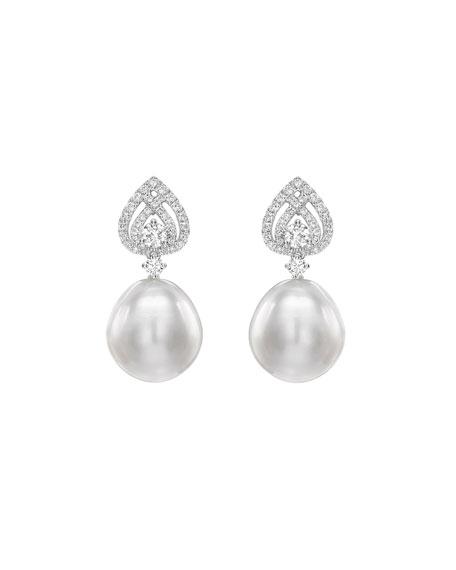 Bridal 18K White Gold, Diamond & Pearl Spade Earrings in White/Gold