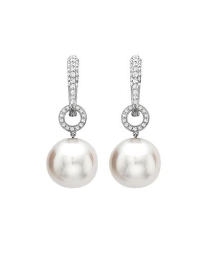 Bridal 18k White Gold, Diamond & Pearl Hoop Drop Earrings