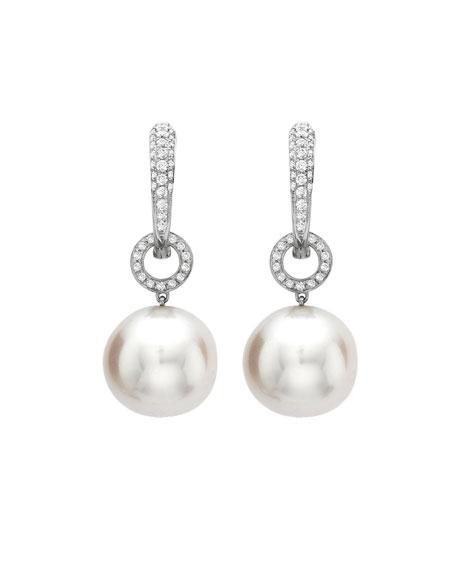 KIKI MCDONOUGH Bridal 18K White Gold, Diamond & Pearl Hoop Drop Earrings in White/Gold