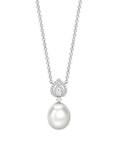 Bridal 18k White Gold, Diamond & Pearl Pendant Necklace