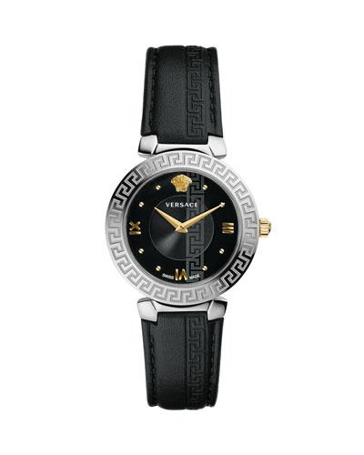 35mm Daphnis Leather Greca Watch, Black/Silver