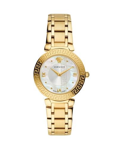 35mm Daphnis Bracelet Greca Watch  Gold/White
