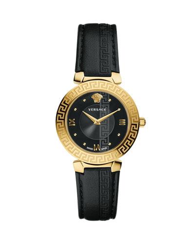 35mm Daphnis Leather Greca Watch  Black