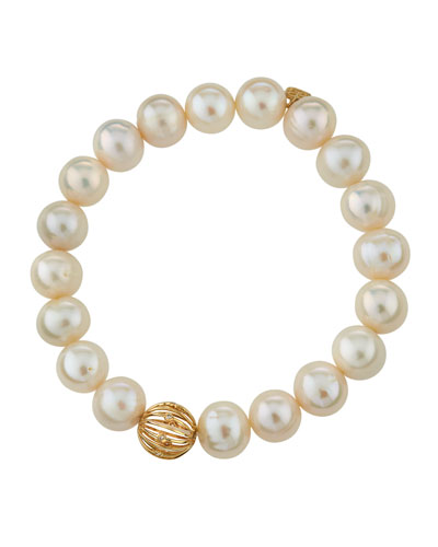 14k Diamond Wire Ball & Pearl Bracelet