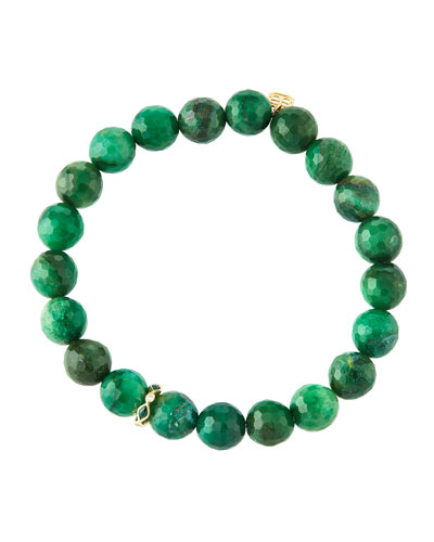 14k Malachite Diamond & Verdite Bracelet
