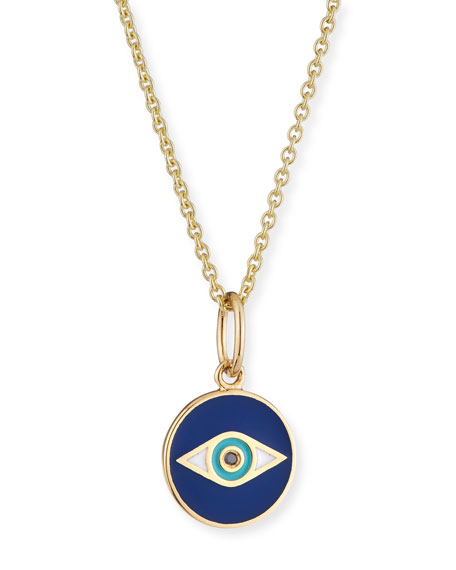 SYDNEY EVAN 14K Black Diamond & Enamel Evil Eye Pendant Necklace in Gold