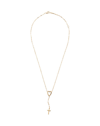 14k Heart Cross Lariat Necklace