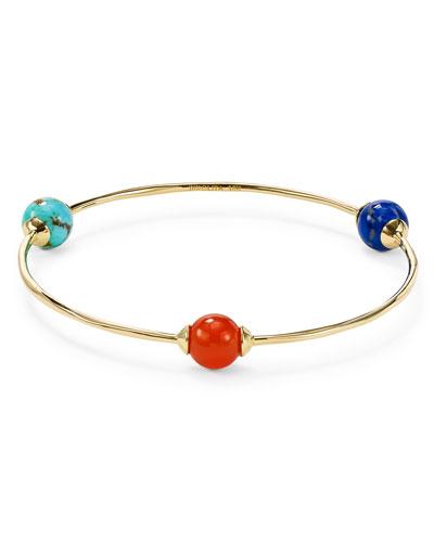 18K Gold Nova 3-Station Bangle Bracelet