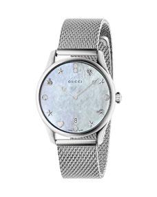 Gucci 36mm G-Timeless Mesh Bracelet Watch w/ Diamonds