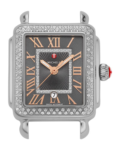 Deco Madison Mid-Diamond Watch Head, Gray