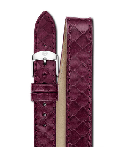 16mm Double-Wrap Snakeskin Watch Strap