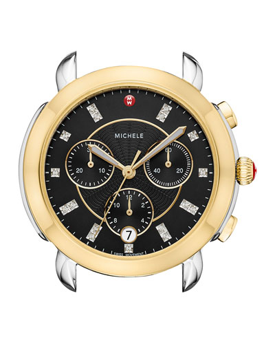 38mm Sidney Chronograph Watch Head, Gold/Black