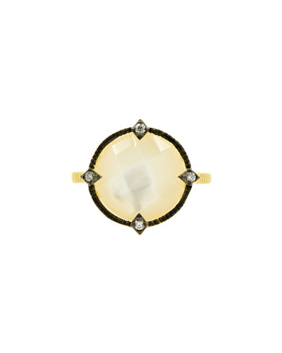 Color Theory Round Cocktail Ring - Mother-of-Pearl, Size 6