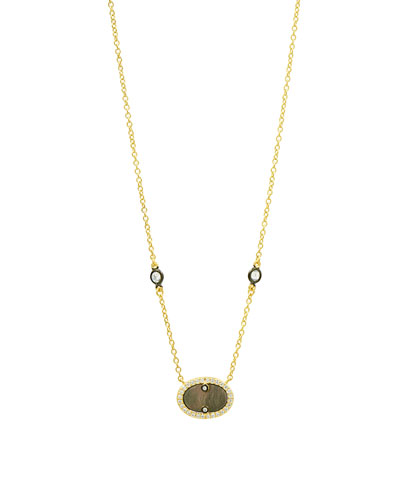 Color Theory Pave Oval Pendant Necklace