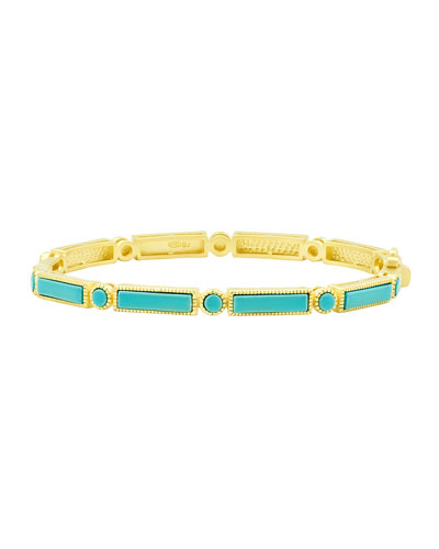 Color Theory Baguette Bar Hinge Bangle, Turquoise