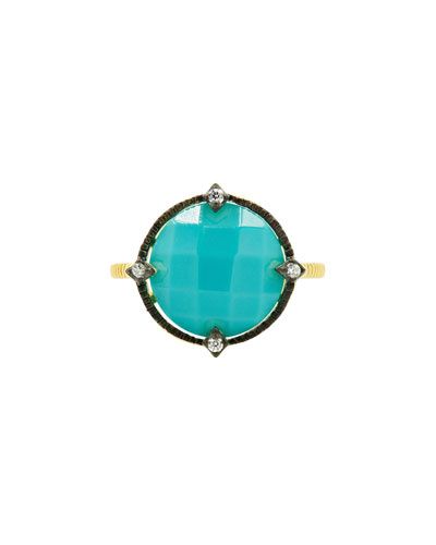 Color Theory Round Cocktail Ring - Turquoise, Size 6