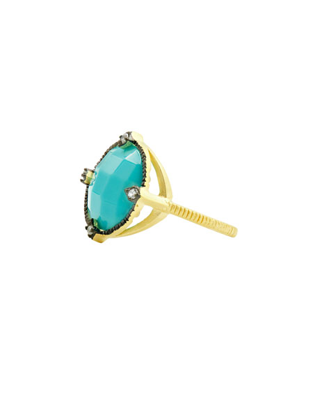 FREIDA ROTHMAN Rings COLOR THEORY ROUND COCKTAIL RING - TURQUOISE