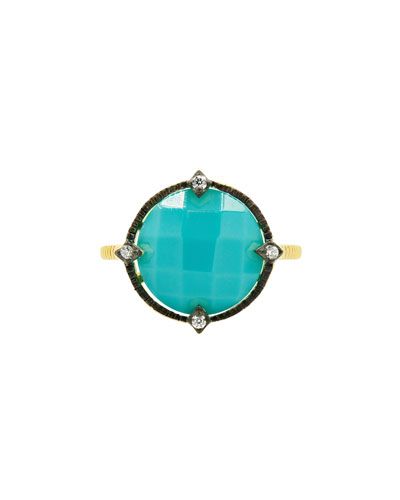 Color Theory Round Cocktail Ring - Turquoise, Size 7